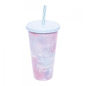 Imagem do produto - Copo Refrigerante de Plástico 700 ml com Tampa e Canudo Good Vibes