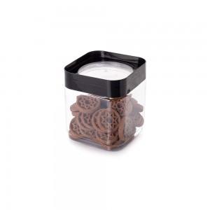 Imagem do produto - Pote de Plástico Quadrado 1,28 L Tampa Rosca Plug Decora Preto
