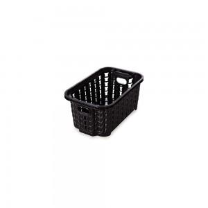 Imagem do produto - Cesta de Plástico Retangular Organizadora 460 ml Empilhável Trama Preto