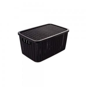 Imagem do produto - Caixa de Plástico Retangular Organizadora 4,7 L com Tampa e Pegador Trama Preto