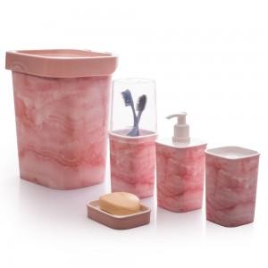 Imagem do produto - Kit para Banheiro Quadrado Mármore Classic 5 Peças