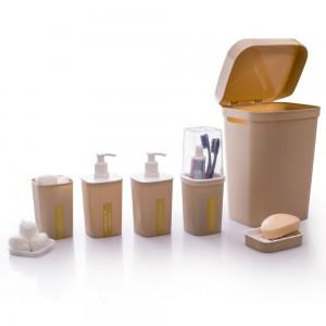 Imagem do produto - Kit para Banheiro Quadrado Classic Fosco Nude 6 Peças