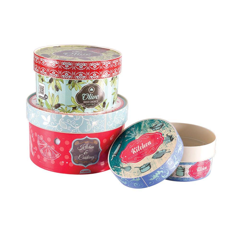 Imagem do produto - Conjunto de Caixas de Plástico Redondas Cozinha Retrô 3 Peças