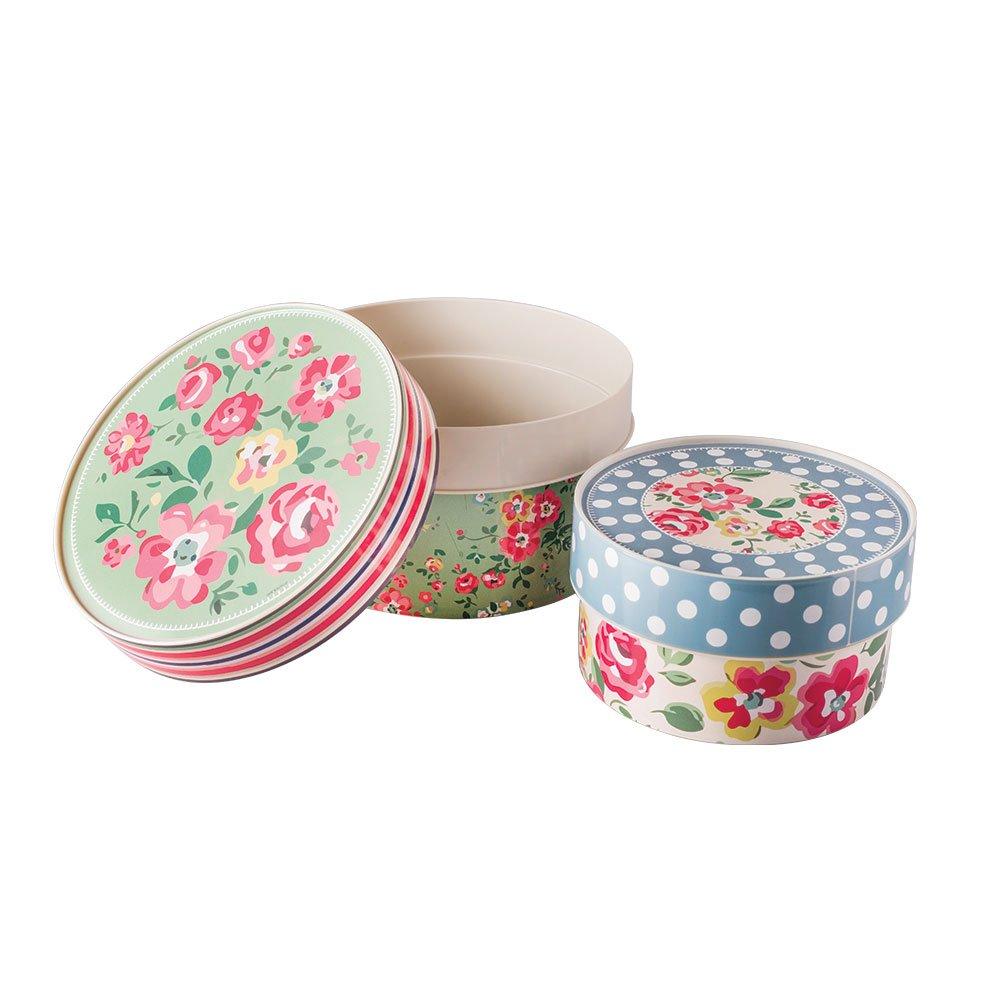 Imagem do produto - Conjunto de Caixas de Plástico Redondas Florais 2 Peças