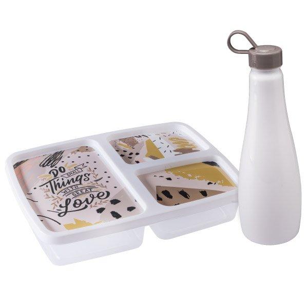 Imagem do produto - Pote 3 compartimentos Animal Print com Garrafa 1 L