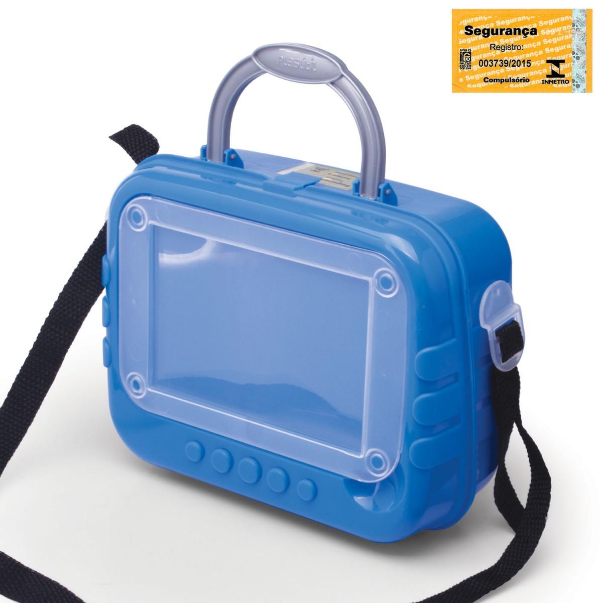 4cd58cc5f Lancheira de Plástico com Porta Foto, Trava e Alças 002889-630 - Azul -  Loja Plasútil