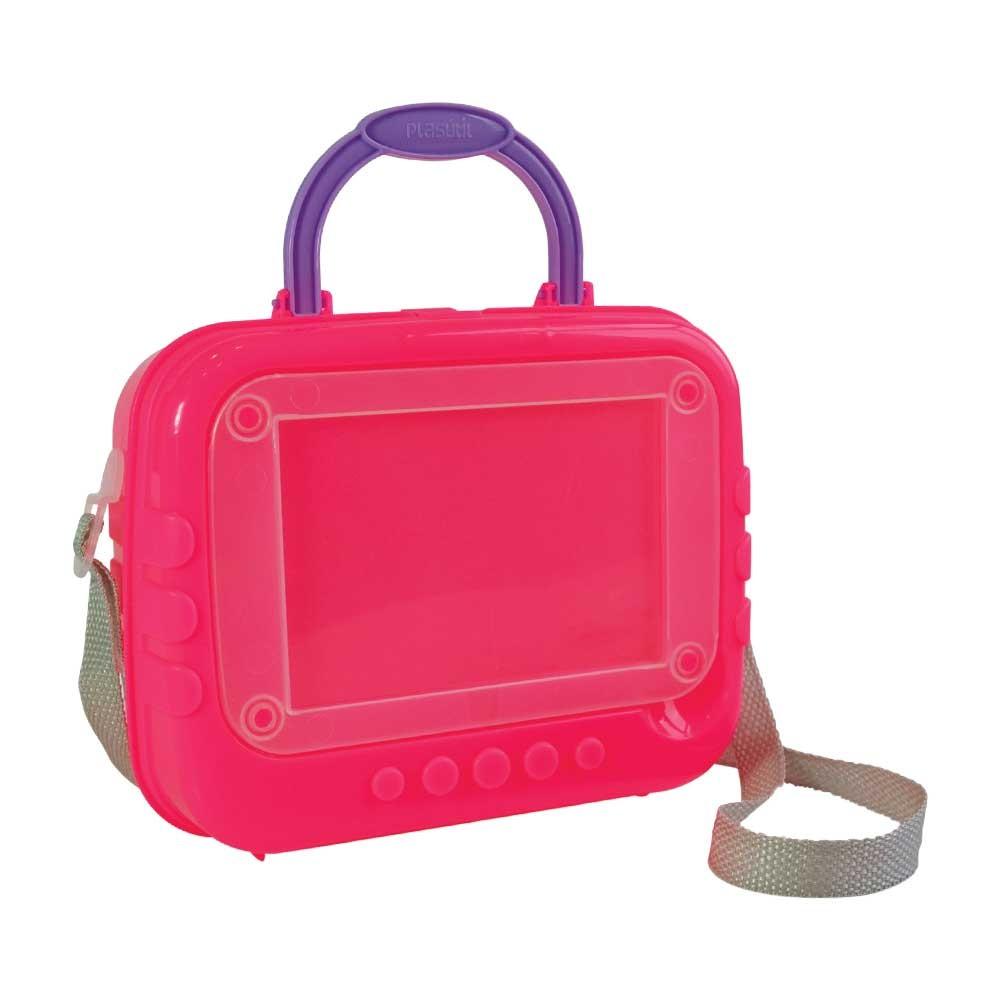 2287ffd3c Lancheira de Plástico com Porta Foto, Trava e Alças 002889-631 - Rosa -  Loja Plasútil