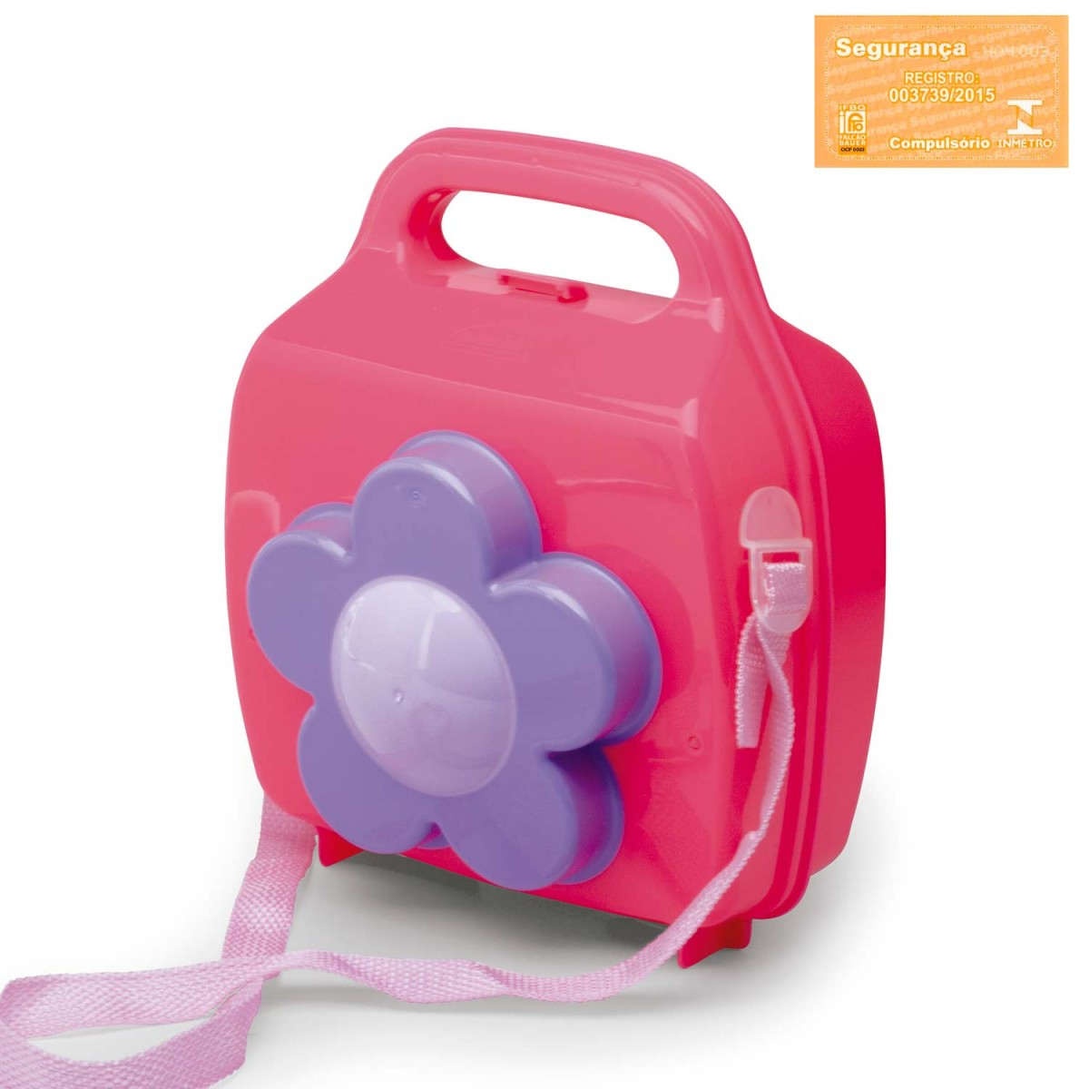 fda7ca23b Lancheira de Plástico com Flor, Pote, Trava e Alças 004866-632 - Rosa -  Loja Plasútil