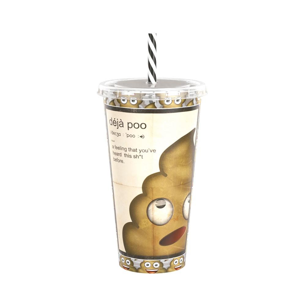 Copo Refrigerante de Plástico 700 ml com Tampa e Canudo Emoji