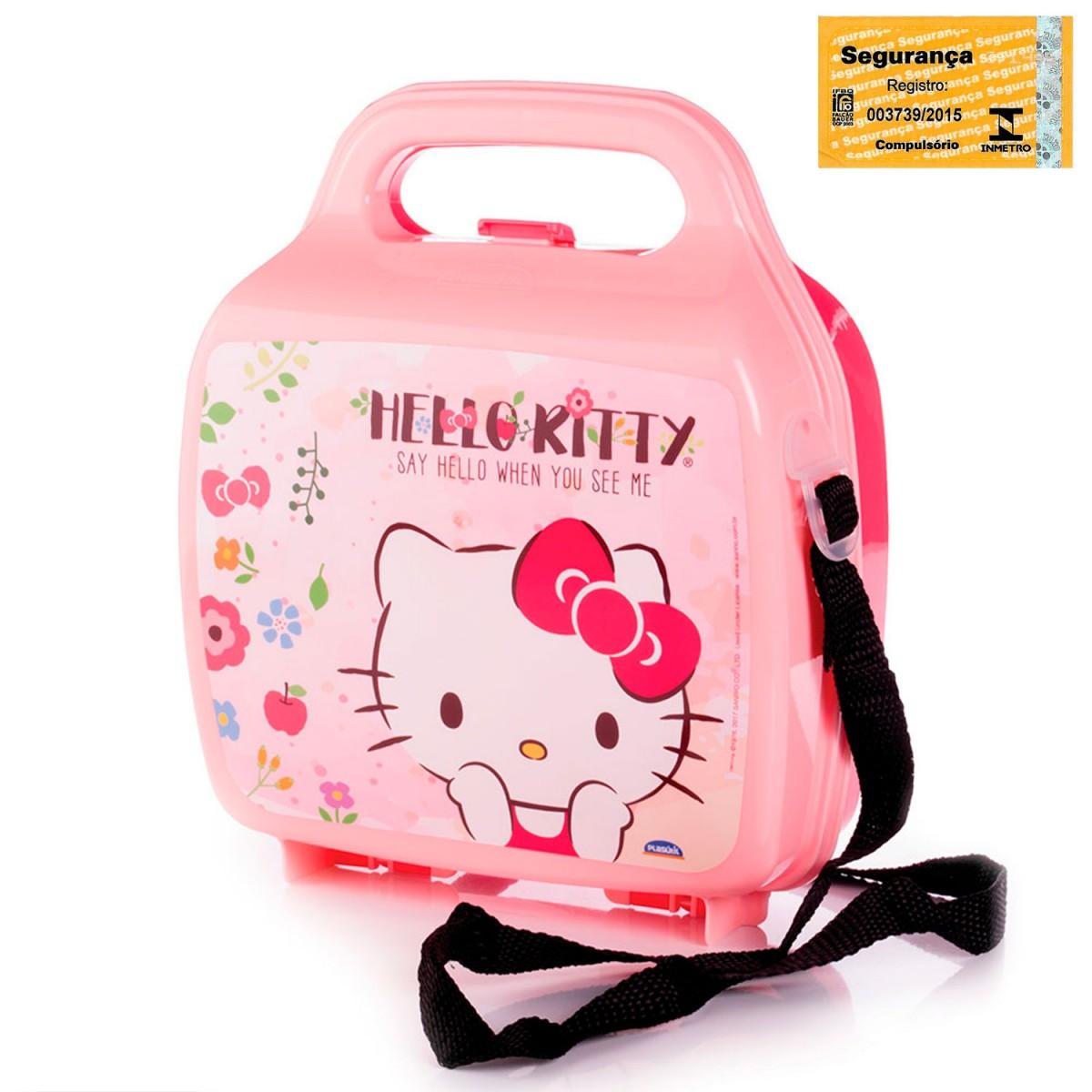a6a375a7f Lancheira de Plástico com Trava e Alças Hello Kitty 008463-2858 - Rosa -  Loja Plasútil