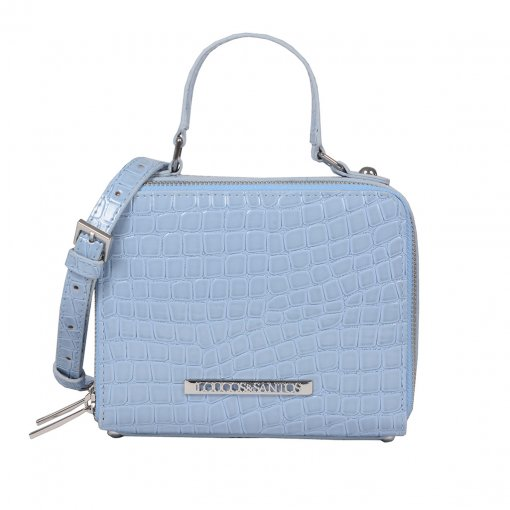 Bolsa Box Tiracolo Verniz Croco Light Blue V20