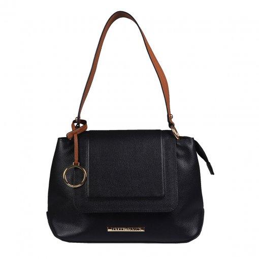 Bolsa de Ombro em Couro Preta com Bag Charm V20