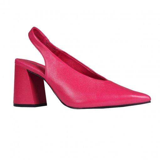 Slingback Couro Pink com Salto Flare I20