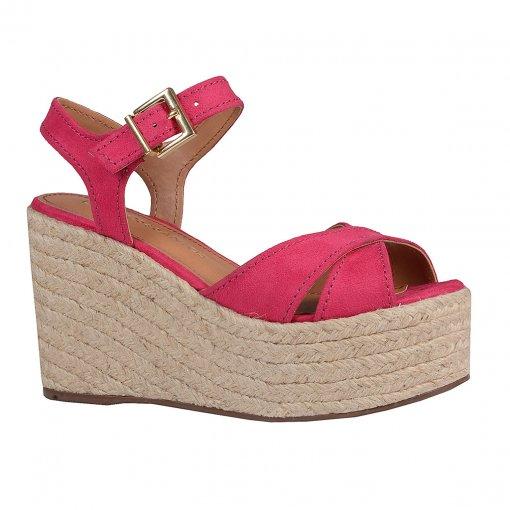 Sandália Plataforma em Couro Camurça Pink V20