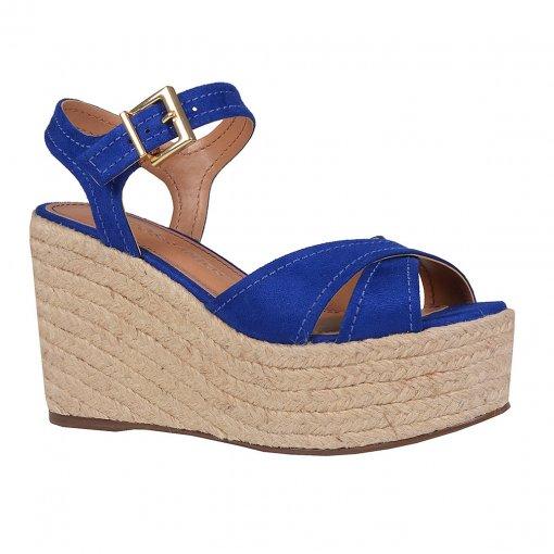 Sandália Plataforma em Couro Camurça Azul V20