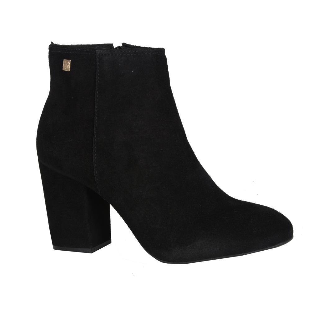Ankle boot camurção preta