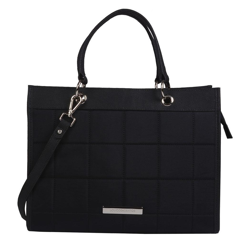 Bolsa sacola preta com pesponto I19