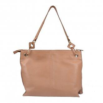 Bolsa de Ombro Couro Bege com Bag Charm I20 4