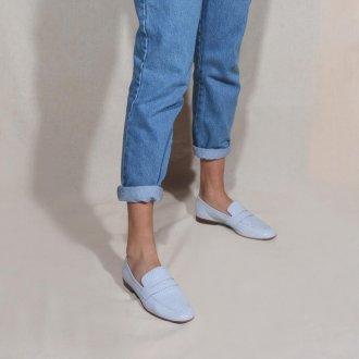 Loafer Couro Snake Light Blue V21 2