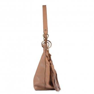 Bolsa de Ombro Couro Bege com Bag Charm I20 3