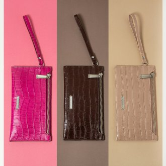Carteira Croco Pink com Alça de Mão I20 4