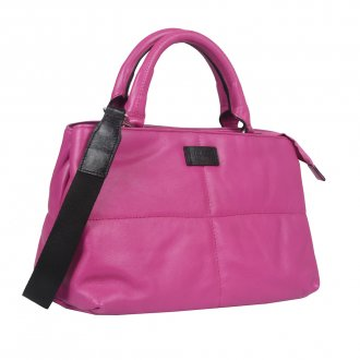 Bolsa Grande Couro Rosa Chiclete V21 2