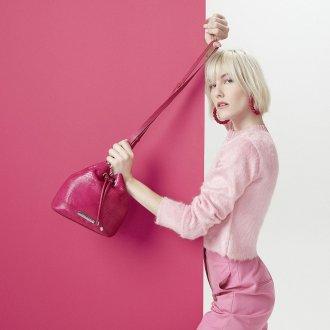 Bolsa Saco Couro Pink I20 4