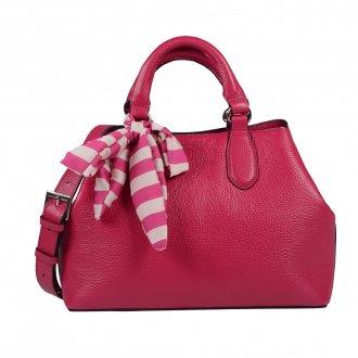 Imagem - Bolsa Couro Pink com Lenço Listras I20