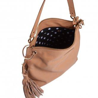Bolsa de Ombro Couro Bege com Bag Charm I20 5