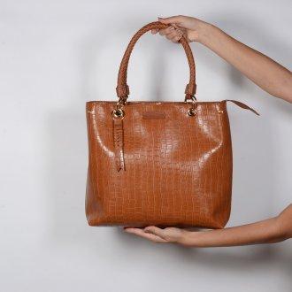 Bolsa Croco Âmbar com Bag Charm V20 4