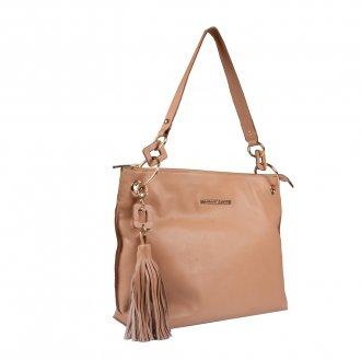 Bolsa de Ombro Couro Bege com Bag Charm I20 2
