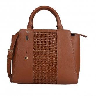 Imagem - Bolsa Estruturada Couro Tressê Ambar com Bag Charm V20
