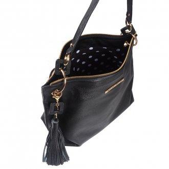 Bolsa de Ombro Couro Preto com Bag Charm I20 3