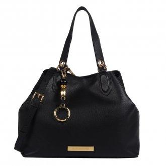 Imagem - Bolsa Couro Preto com Bag Charm V20