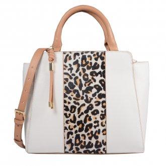 Imagem - Bolsa Estruturada Couro Branco com Bag Charm V20