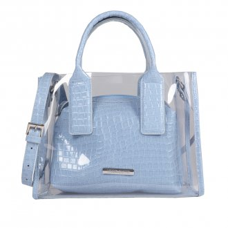 Imagem - Bolsa Vinil Transparente com Clutch Croco Light Blue V20