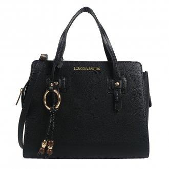 Imagem - Bolsa Estruturada Preta com Bag Charm V20