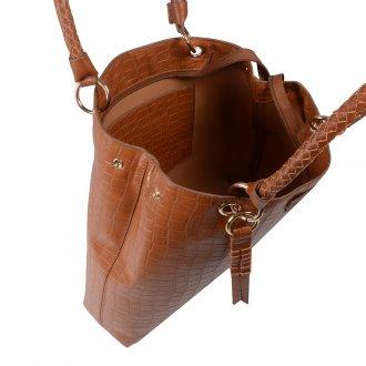 Bolsa Croco Âmbar com Bag Charm V20 3