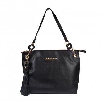 Imagem - Bolsa de Ombro Couro Preto com Bag Charm I20