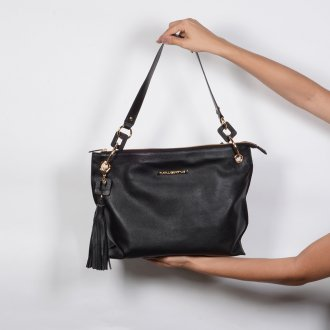 Bolsa de Ombro Couro Preto com Bag Charm I20 4