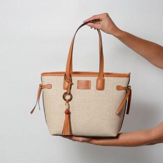 Bolsa Shopping Bicolor Pecan/Ráfia V22 2