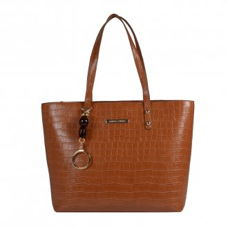 Imagem - Bolsa Sacola Croco Âmbar com Bag Charm V20