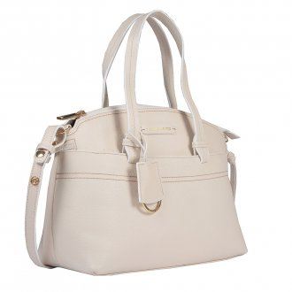 Bolsa em Couro Off White com Bag Charm V20 2