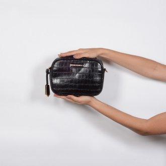 Bolsa Pequena Tiracolo Croco Preta V20 6