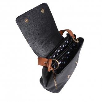 Bolsa de Ombro em Couro Preta com Bag Charm V20 3