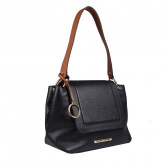 Bolsa de Ombro em Couro Preta com Bag Charm V20 2