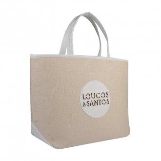 Bolsa Sacola em Tecido Linho com Logotipo Branco V20 2