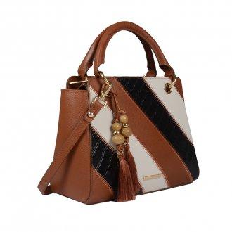 Bolsa Estruturada Couro Âmbar com Bag Charm V20 2