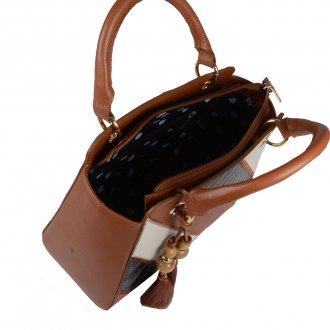 Bolsa Estruturada Couro Âmbar com Bag Charm V20 3