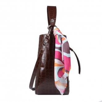 Bolsa Saco Croco Marrom com Lenço Floral I20 3